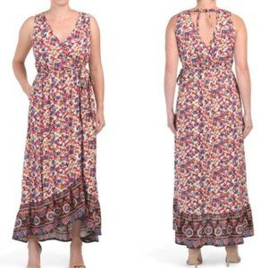 Band of Gypsies Sleeveless Floral Maxi Dress Small
